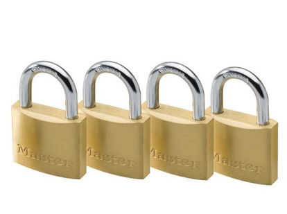Picture of Master Lock 40MM Hrad Steel Shackle, 4 Pieces Key-Alike Brass Padlock, MSP1902Q