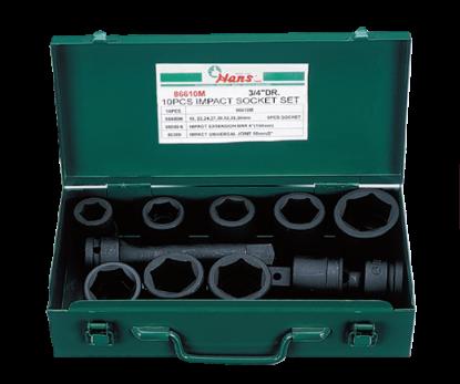 Picture of Hans 10 Pcs. Impact Socket Set - MODEL NO. 86610A - Inches Size