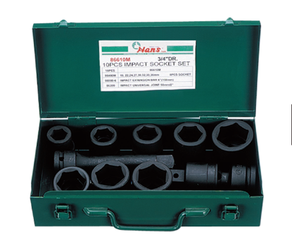 Picture of Hans 10 Pcs. Impact Socket Set - MODEL NO. 86610AA - Inches Size