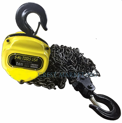 Picture of S-Ks Tools USA 1T Heavy Duty 1 Ton Chain Block (Yellow/Black)