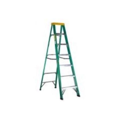 Picture of Jinmao 6 Step Fiberglass 7' Step Ladder 225 lbs  Green, JMFM22106II