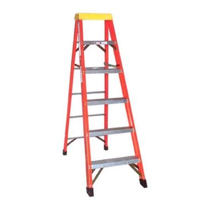 Picture of Jinmao 5 Step Fiberglass 6.5' Household Ladder with Big Aluminum Tray Orange 300 lbs, JMFM11105IA