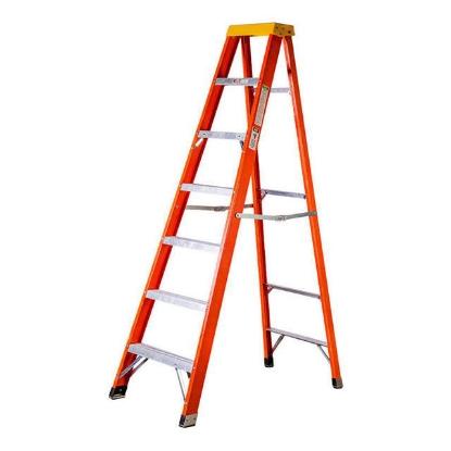 Picture of Jinmao 6 Step Fiberglass 7' Step Ladder 300 lbs Orange, JMFM22106IA